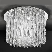 12 Light Chrome and Twisted Glass Ceiling Light