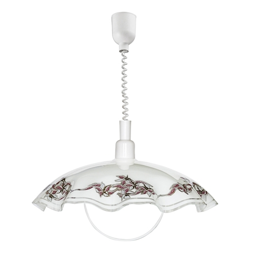 Eglo 3041 Rise And Fall Pendant Ceiling Light White Finish