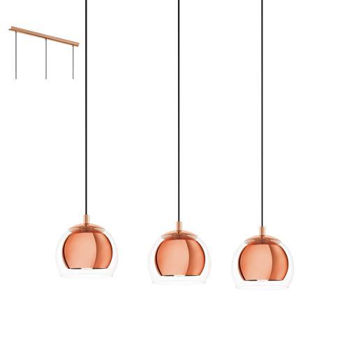 Rocamar Copper And Glass Single Pendant: Eglo 94591 Rocamar 3 Light Pendant Ceiling Light Copper