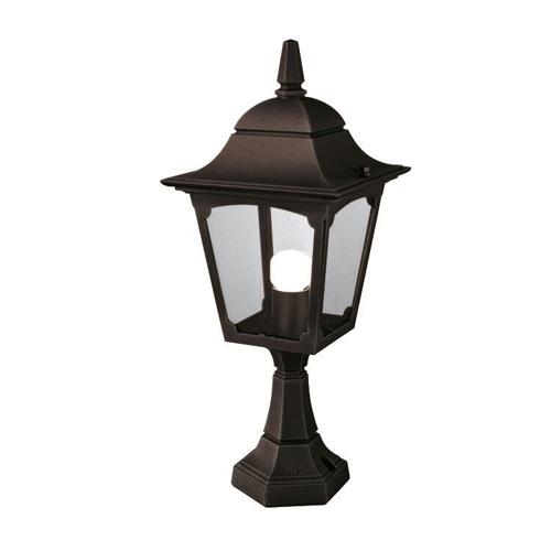 Cheltenham Cast Pedestal Lantern Light Black: Elstead CP4 Chapel Outdoor Pedestal Lantern Black