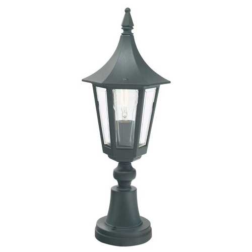 Cheltenham Cast Pedestal Lantern Light Black: Elstead Norlys R3-BLACK Rimini Outdoor Pedestal Lantern Black